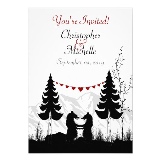 Silhouette Mountain Bears Wedding Invitation
