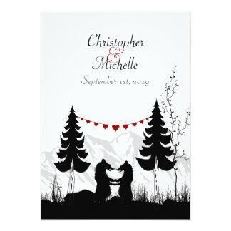 "Silhouette Mountain Bears Wedding Invitation 5"" X 7"" Invitation Card"
