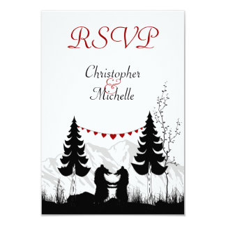 "Silhouette Mountain Bears Wedding RSVP Cards 3.5"" X 5"" Invitation Card"