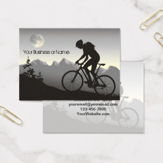 Silhouette Mountain Bike Mountains and Full Moon Business Card
