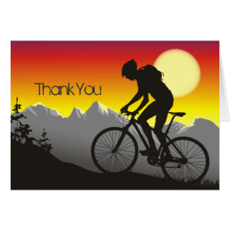 Silhouette Mountain Bike Thank You Card