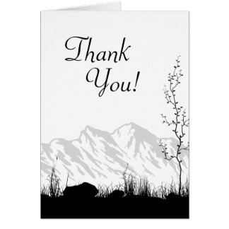Silhouette Mountain Black and White Thank You Card