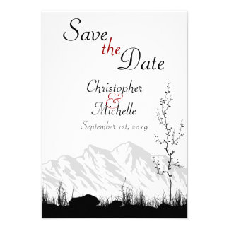 Silhouette Mountain Wedding Save the Date Personalized Announcements