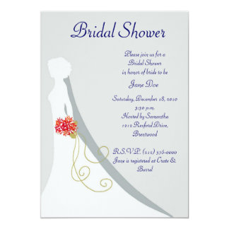 Silhouette nuptiale de jeune mariée de douche carton d'invitation  12,7 cm x 17,78 cm