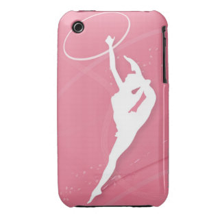Silhouette of a female gymnast performing with a iPhone 3 covers