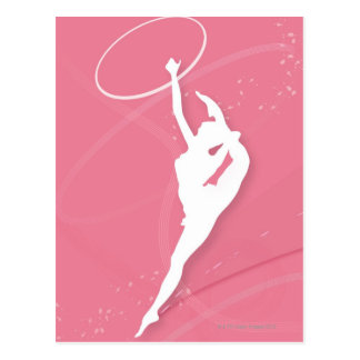 Silhouette of a female gymnast performing with a postcard