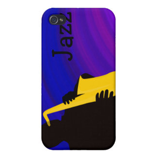 Silhouette of a jazz player, blue & purple iPhone 4/4S covers