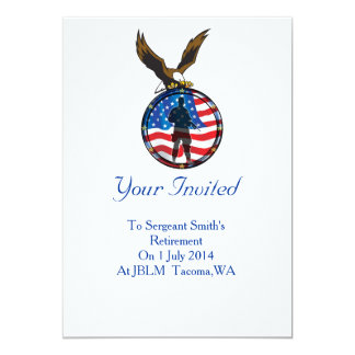 """Silhouette of a lone Soldier retirement 5"""" X 7"""" Invitation Card"""
