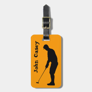 Silhouette of a Man Golfing - Luggage Tag