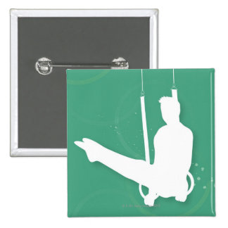 Silhouette of a man performing gymnastics 2 inch square button