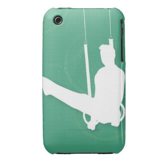 Silhouette of a man performing gymnastics iPhone 3 cases