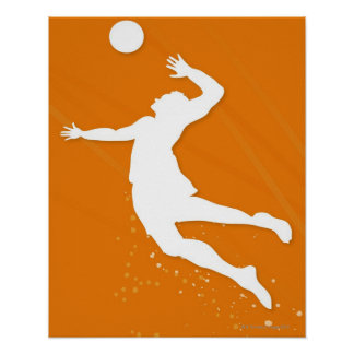 Silhouette of a man playing volleyball poster