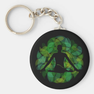 Silhouette of a meditating person basic round button keychain