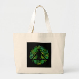 Silhouette of a meditating person jumbo tote bag