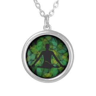 Silhouette of a meditating person round pendant necklace