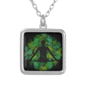 Silhouette of a meditating person square pendant necklace