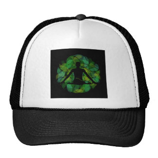 Silhouette of a meditating person trucker hat