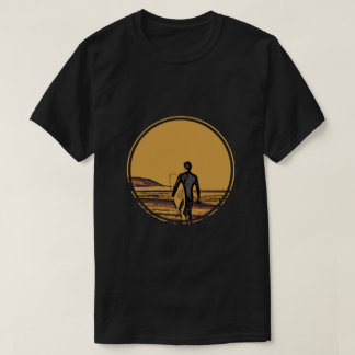 Silhouette of a surfer and surfboard T-Shirt