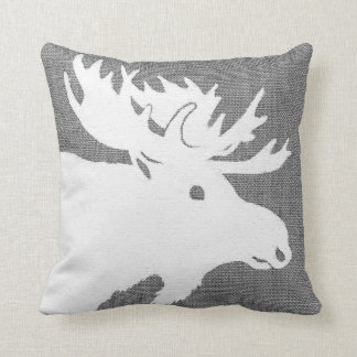 Silhouette of a white moose on a soft grey bckgrnd throw pillow