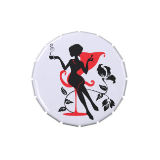 Silhouette of a Young female holding hot coffee