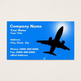 Silhouette of Airplane Against Clear Blue Sky Business Card