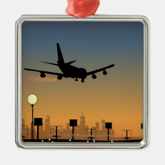 Silhouette of an airplane in flight Silver-Colored square ornament