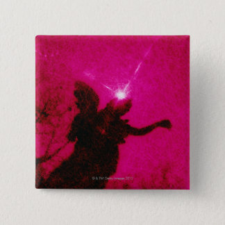 Silhouette of angel sculpture with sun in pink 2 inch square button