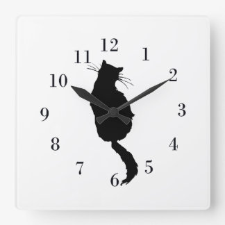 Silhouette of Black Cat Square Wall Clock