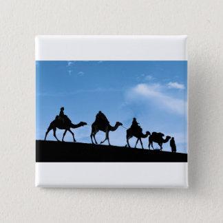 Silhouette of Camel Caravan 2 Inch Square Button