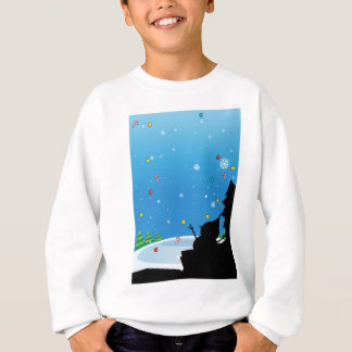 Silhouette of Christmas with snowman Sweatshirt