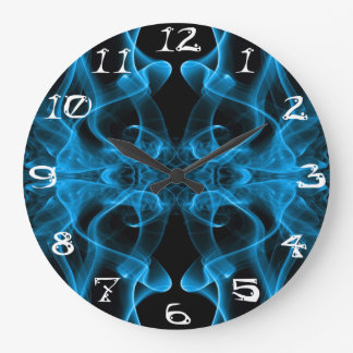 Silhouette of Colored Smoke Abstract blue black Large Clock