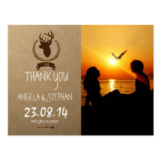Silhouette of couple in sunset on the beach /deer postcard