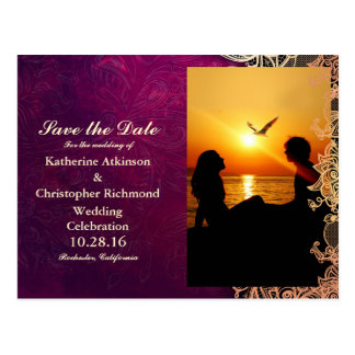 Silhouette of couple in sunset on the beach/purple postcard