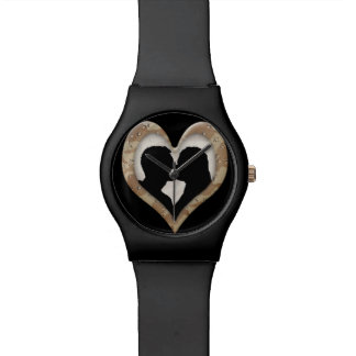 Silhouette of Couple Kissing (Camouflage Heart ) Wristwatch