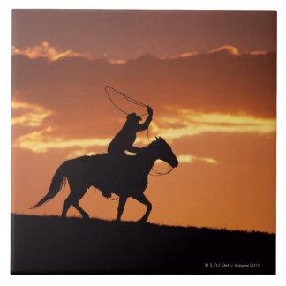 Silhouette of cowboy on horseback near Fairplay, Tile