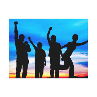 Silhouette of Excited Family Canvas Print