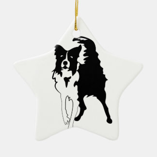 Silhouette of funny playful little puppy DOG Ceramic Ornament