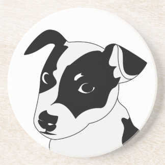 Silhouette of funny playful little puppy DOG Coaster