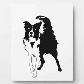 Silhouette of funny playful little puppy DOG Plaque