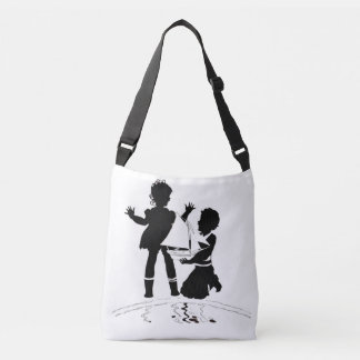 silhouette of girl and boy and model boat crossbody bag