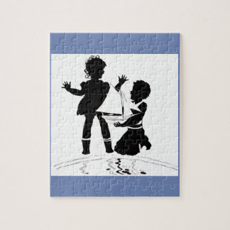 silhouette of girl and boy and model boat jigsaw puzzle