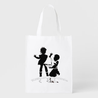 silhouette of girl and boy and model boat reusable grocery bag