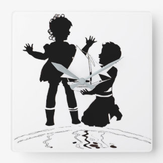 silhouette of girl and boy and model boat square wall clock