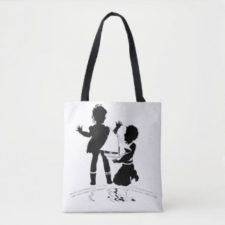 silhouette of girl and boy and model boat tote bag