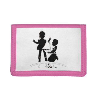 silhouette of girl and boy and model boat tri-fold wallet