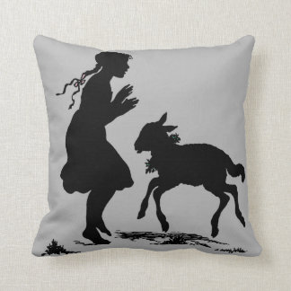 Silhouette of Girl and Lamb Dancing Pillow