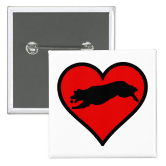 Silhouette of Golden Retriever Fetching on heart 2 Inch Square Button
