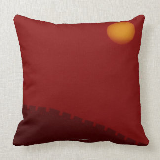 Silhouette of Great Wall of China Throw Pillows