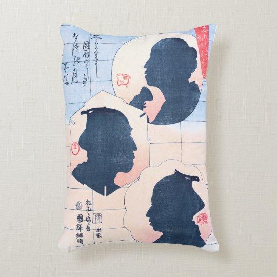 Silhouette of Kabuki Actors Decorative Pillow
