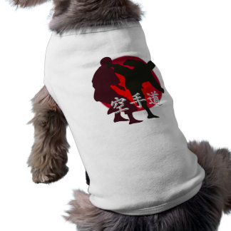 Silhouette of Karate fight, red circle background. Doggie T-shirt